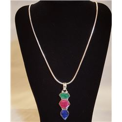 Awesome 8.50 cttw Ruby,Emearald & Sapphire Pendant.