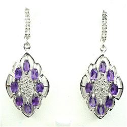 Natural Marquise Purple Amethyst White Topaz Earrings
