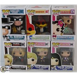 LOT OF 6 ASSORTED FUNKO POPS: ANIMATION