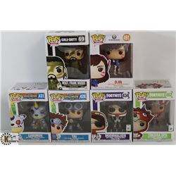 LOT OF 6 ASSORTED FUNKO POPS: GAMES & ANIMATION