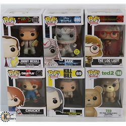 LOT OF 6 ASSORTED FUNKO POPS: MOVIES VARIETY PACK.