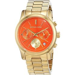 NEW MICHAEL KORS RUNWAY CHRONO ORANGE DIAL