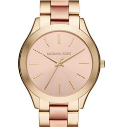 NEW MICHAEL KORS 2-TONE SLIM RUNWAY WATCH.MSRP$285