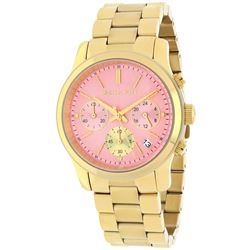 NEW MICHAEL KORS TRIPLE CHRONO PINK DIAL WATCH