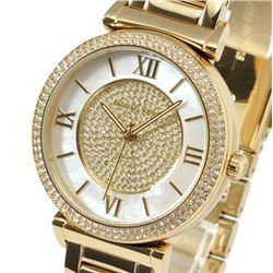 NEW MICHAEL KORS MOTHER OF PEARL DIAL GOLD PLATED