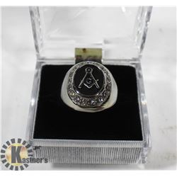 SILVER TONE MASONIC RING, ROUND FACE, SIZE 9