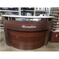 "RECEPTION DESK 72""W X 34""D X 45""H"