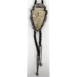 Sterling Silver & Carved Stone Arrowhead Bolo Tie