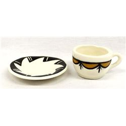 Acoma Hand Painted Miniature Ceramic Cup & Saucer
