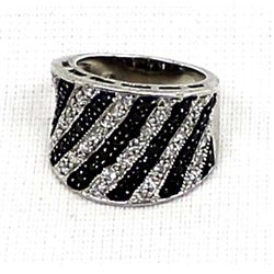 Sterling Silver Black Spinel Wide Band Ring, 7.75