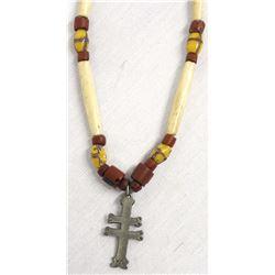 Fur Trade Era Silver Cross & Trade Bead Necklace
