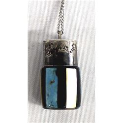 Navajo Old Pawn Silver Stone Inlay Bottle Pendant