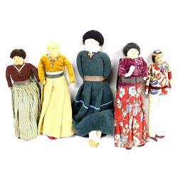 5 Vintage Native American Navajo Cloth Dolls