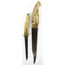 2 Antique Bone Handled Knives