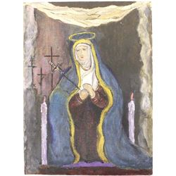 Vintage Blessed Virgin Mary Painting on Board