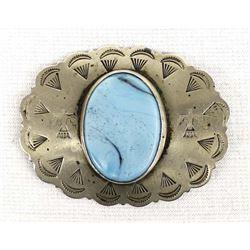 Vintage Navajo Sterling Turquoise Pin