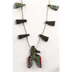 Vintage Santo Domingo Overlay Bird Necklace
