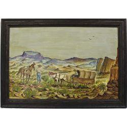 Original Cowboy Acrylic Painting by W. Howard Hamm (d. 2000)