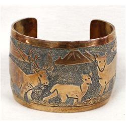 Navajo Copper Storyteller Bracelet by E. Becenti