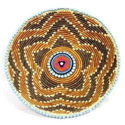 Hand Beaded Tribal Basket by Kills Thunder