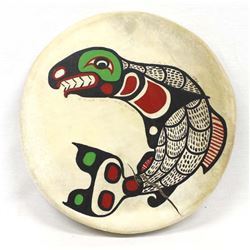 1992 Northwest Coast Hide and Wood Drum by Nelson