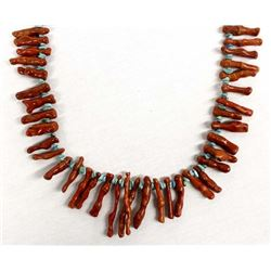Navajo Turquoise & Coral Necklace