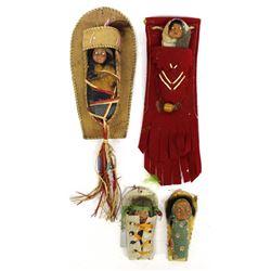 4 Vintage Skookum Dolls
