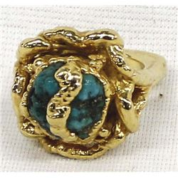 Gold Filled and Turquoise Nugget Ring, Size 6.5