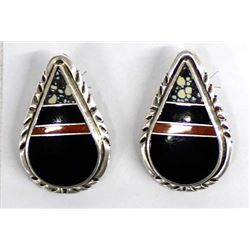 Navajo Sterling Inlay Earrings by Ray Tracey