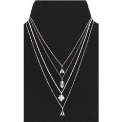 4 Zuni Sterling Turquoise Pendant Necklaces