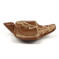 Historic Santa Clara Redware Pottery Bird Bowl