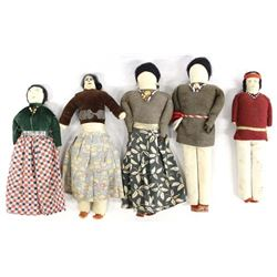 5 Vintage Native American Navajo Cloth Dolls