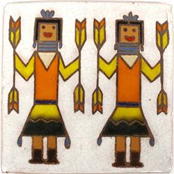 Hand Painted & Glazed Yei Bi Chei Tile