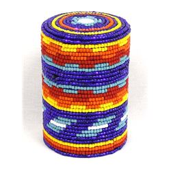Hand Beaded Wood Cannister by Kathy Kills Thunder