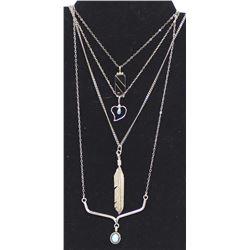 4 Navajo Sterling Pendant Necklaces