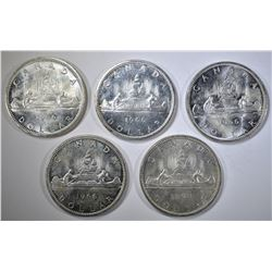 5-1966 CH BU CANADIAN SILVER DOLLARS