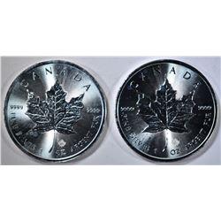 2-BU 2015 CANADA 1oz SILVER MAPLE LEAF COINS