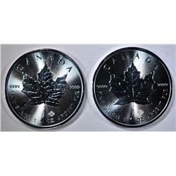 2-BU 2017 CANADA 1oz SILVER MAPLE LEAF COINS