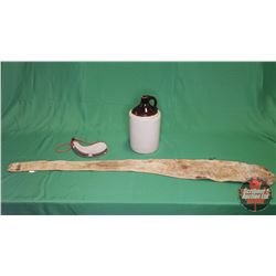 Tray Lot - Collector Trio : Shoulder Jug, Deer Skin Gun Scabbard & Wine Skin