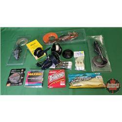 Tray Lot: Deep Sea Fishing Items: Garcia Mitchell 402 Salt Water Reel S/N#636071 + Spare Spool & Fis