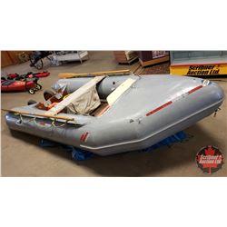 ZODIAK 12ft Model 2245 w/Pump, Boat Box, Wheels, 2 Wooden Oars (Note: Some Repairs)