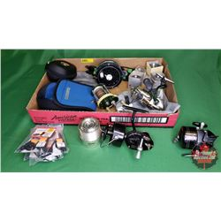 Tray Lot: Variety of Fishing Reels (Shimano, Kilt, Fly Fishing Reel) + Extra Line, etc !