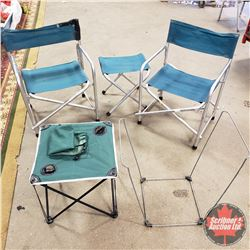 2 Coleman Lawn Chairs, Food Rest, Table & Garbage Bag Frame