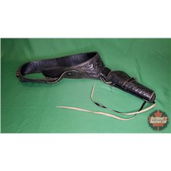 Western Gun Belt - Single Holster - Stamped Size 38 (Black Leather)