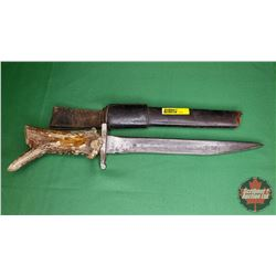 "Antler Handle Knife w/Sheath (Note: Hole at end of sheath) (15-1/2"" Total Length)"