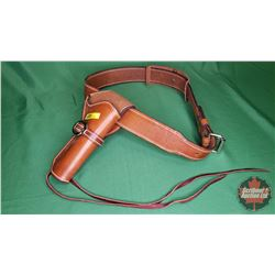 AMMO: Gun Belt Single Holster - Fits up to approx 42 Waist (Brown Leather)