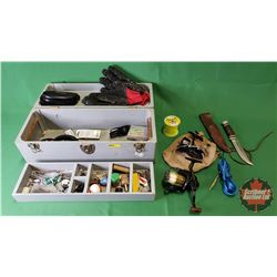 Wooden Tackle Box w/Fishing Reels, Fish Gloves, Knife, etc