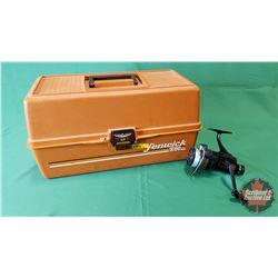 Fenwick Tackle Box w/Fishing Reel, Fishing Line, Fish Strings, etc