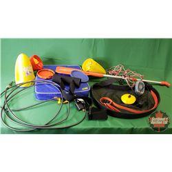 Variety Lot : Waist Belt Net, Sonar Fish Finder, Wearable Rod Holder, Seat Cushion, Lock Cable, Boat