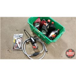Green Basket Lot: Gear Lube Pump, Oil Filter, Boat Motor Muffs, Merc Fuel Line & Merc Oil